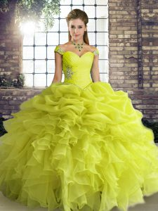 Yellow Green Lace Up Quince Ball Gowns Beading and Ruffles and Pick Ups Sleeveless Floor Length
