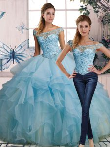 Floor Length Two Pieces Sleeveless Light Blue Quince Ball Gowns Lace Up