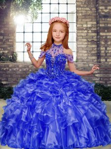 Blue Organza Lace Up Pageant Dress Wholesale Sleeveless Floor Length Beading and Ruffles