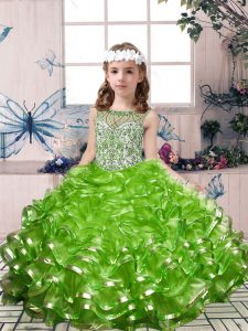 Sweet Sleeveless Floor Length Beading and Ruffles Lace Up High School Pageant Dress with Green