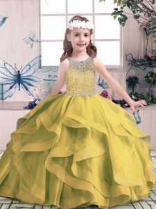 Unique Olive Green Ball Gowns Scoop Sleeveless Tulle Floor Length Lace Up Beading and Ruffles Little Girls Pageant Gowns