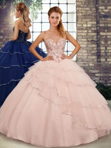 Custom Made Sleeveless Beading and Ruffled Layers Lace Up Quince Ball Gowns with Peach Brush Train
