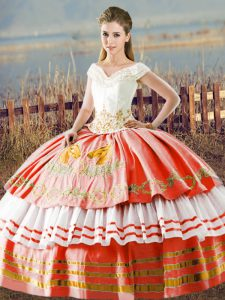 Colorful White And Red Satin Lace Up V-neck Sleeveless Floor Length 15 Quinceanera Dress Embroidery and Ruffled Layers