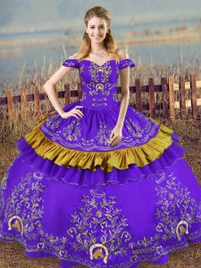 Elegant Embroidery Quinceanera Dress Purple Lace Up Sleeveless Floor Length