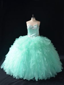 Chic Apple Green Sweetheart Neckline Beading and Ruffles Quinceanera Gowns Sleeveless Lace Up
