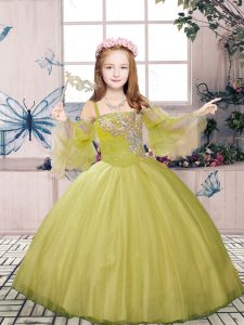 Dramatic Olive Green Ball Gowns Straps Sleeveless Tulle Floor Length Lace Up Beading Kids Formal Wear