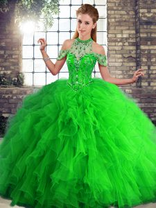 Most Popular Green Lace Up Halter Top Beading and Ruffles 15 Quinceanera Dress Tulle Sleeveless