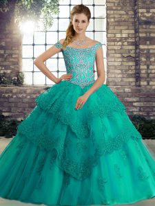 Glorious Turquoise Off The Shoulder Lace Up Beading and Lace Quinceanera Gown Brush Train Sleeveless