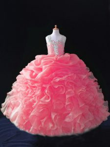 Floor Length Zipper Little Girls Pageant Gowns Coral Red for Wedding Party with Beading and Ruffles and Pick Ups