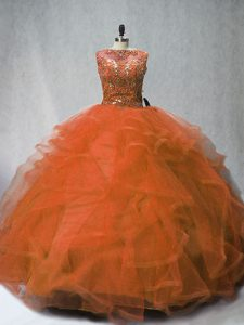Decent Rust Red Ball Gowns Beading and Ruffles Quince Ball Gowns Lace Up Tulle Sleeveless