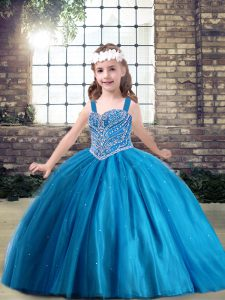 Custom Design Blue Lace Up Straps Beading Little Girls Pageant Dress Tulle Sleeveless