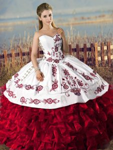 Edgy Ball Gowns Quince Ball Gowns Red Sweetheart Organza Sleeveless Floor Length Lace Up