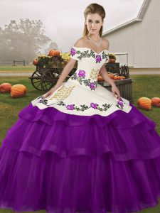 Sleeveless Brush Train Embroidery and Ruffled Layers Lace Up Sweet 16 Quinceanera Dress
