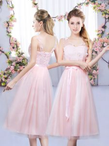Tea Length Empire Sleeveless Baby Pink Quinceanera Court Dresses Lace Up