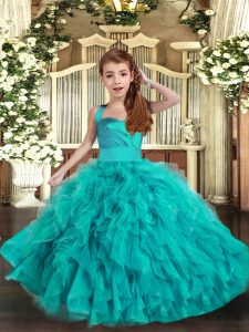 Straps Sleeveless Little Girls Pageant Dress Floor Length Ruffles Aqua Blue Tulle