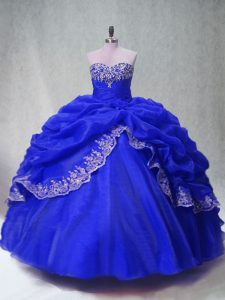 High Class Royal Blue Sleeveless Floor Length Beading and Appliques and Pick Ups Lace Up Sweet 16 Dresses