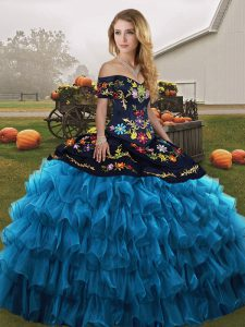 Beauteous Blue And Black Sleeveless Floor Length Embroidery and Ruffled Layers Lace Up Quinceanera Gowns