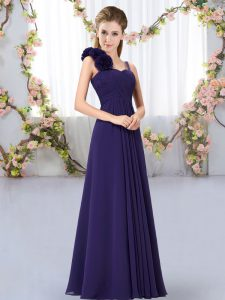 Artistic Sleeveless Floor Length Hand Made Flower Lace Up Dama Dress for Quinceanera with Purple