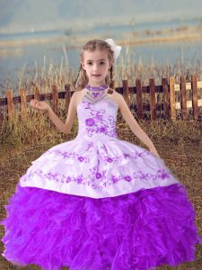 Lavender Sleeveless Organza Lace Up Girls Pageant Dresses for Wedding Party