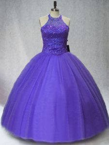 Purple Tulle Lace Up Party Dress for Toddlers Sleeveless Floor Length Beading