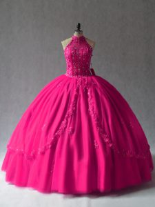 Delicate Fuchsia Tulle Lace Up Halter Top Sleeveless Floor Length Quinceanera Dress Appliques