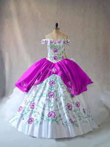Off The Shoulder Sleeveless Lace Up Ball Gown Prom Dress White And Purple Organza