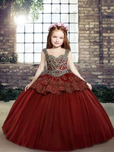 Stunning Sleeveless Lace Up Floor Length Beading Little Girl Pageant Dress