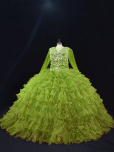 Olive Green Organza Lace Up V-neck Long Sleeves Floor Length Quince Ball Gowns Ruffled Layers