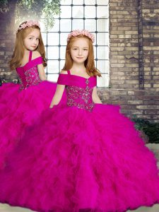 Fuchsia Ball Gowns Beading and Ruffles Little Girls Pageant Gowns Lace Up Tulle Sleeveless Floor Length