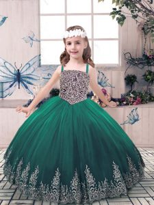 Green Straps Lace Up Beading and Embroidery Pageant Dress Sleeveless