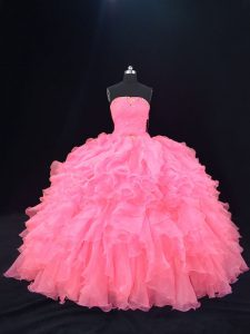 Exceptional Organza Strapless Sleeveless Lace Up Beading and Ruffles 15 Quinceanera Dress in Pink