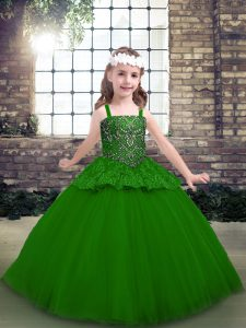 Sleeveless Tulle Floor Length Lace Up Pageant Dress for Girls in Green with Beading