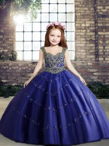 Beautiful Ball Gowns Pageant Dresses Royal Blue Straps Tulle Sleeveless Floor Length Lace Up