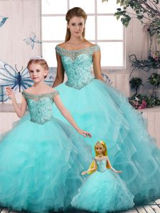 Top Selling Floor Length Lace Up Sweet 16 Dresses Aqua Blue for Sweet 16 and Quinceanera with Embroidery and Ruffles