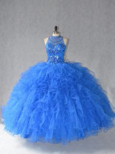 Deluxe Royal Blue Tulle Lace Up Halter Top Sleeveless Floor Length Quinceanera Dresses Beading and Ruffles