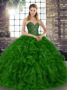 Free and Easy Beading and Ruffles Vestidos de Quinceanera Green Lace Up Sleeveless Floor Length