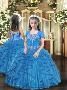 Baby Blue Kids Formal Wear Party and Sweet 16 and Wedding Party with Beading and Ruffles Straps Sleeveless Lace Up