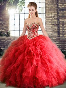 Red Tulle Lace Up Sweetheart Sleeveless Floor Length Ball Gown Prom Dress Beading and Ruffles