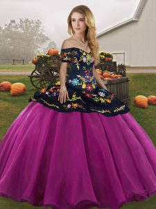Eye-catching Fuchsia Ball Gowns Tulle Off The Shoulder Sleeveless Embroidery Floor Length Lace Up Sweet 16 Dress
