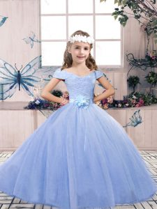 Lace and Belt Glitz Pageant Dress Light Blue Lace Up Sleeveless Floor Length