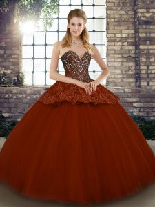 Floor Length Ball Gowns Sleeveless Rust Red Quince Ball Gowns Lace Up