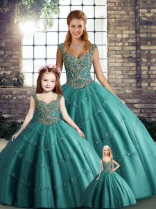 Teal Sleeveless Floor Length Beading and Appliques Lace Up Sweet 16 Dresses