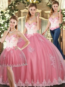 Watermelon Red Tulle Lace Up Quinceanera Dresses Sleeveless Floor Length Beading and Appliques