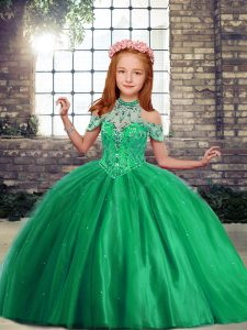 Stunning Green Ball Gowns Beading Little Girls Pageant Dress Wholesale Lace Up Tulle Sleeveless Floor Length