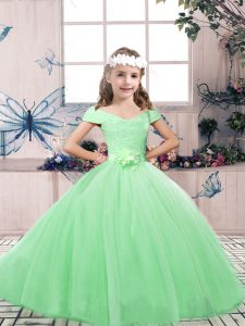 Sleeveless Floor Length Lace and Belt Lace Up Pageant Dress Toddler with