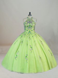 Edgy Halter Top Sleeveless 15 Quinceanera Dress Brush Train Embroidery Yellow Green Tulle