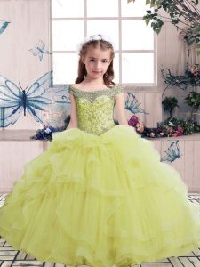Customized Floor Length Yellow Pageant Dress Wholesale Tulle Sleeveless Beading