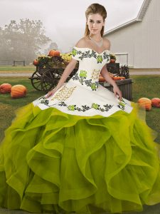 Olive Green Ball Gowns Embroidery and Ruffles Quince Ball Gowns Lace Up Tulle Sleeveless Floor Length