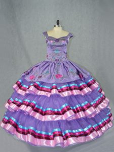 Beautiful Straps Sleeveless Sweet 16 Quinceanera Dress Floor Length Embroidery and Ruffled Layers Lavender Organza