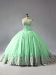 Tulle Sleeveless Vestidos de Quinceanera Court Train and Appliques